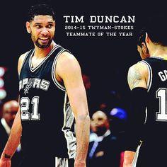 San Antonio Spurs — Tim Duncan has been selected as the 2014-2015. 9ec65ac5c