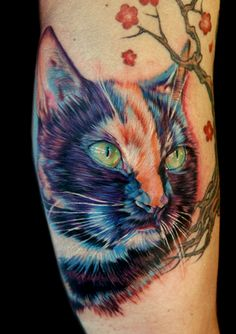 Realistic cat tattoo design with Asian inspired cherry blossom tree