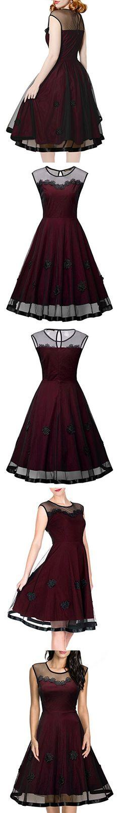 Miusol Women's Elegant Illusion Floral Lace Cap Sleeve Bridesmaid Prom Dress (Large, Wine)