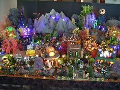 Very impressive Halloween village set up!- wish I had the room for one. I love looking at all the Dept. 56 villages