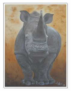 Sir Fabian in oil, killed due to poaching in 2014. Auctioned in Australia in September 2015.  Funds for rhino conservation