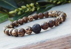 Men's Palm Wood Bracelet with Lava Rock