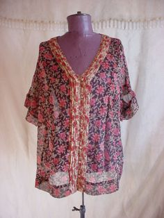 Converse Sheer Top Blouse Floral Print size Large Pleating Bohemian #Converse