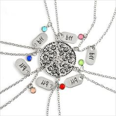 6pz/set BFF Pizza Necklace Alloy Silver Slice Pizza Colorful Crysal Dangle Pendant bff Best Friend Forever Friendship Necklace