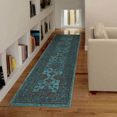 Orian Rugs Bright Color Modern Traditional Grimaldi Blue Runner, 2'3 inch x 8'