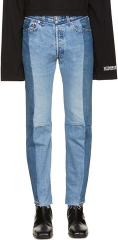 Vetements for Men Collection Shoes With Jeans, Jeans Pants, Mom Jeans, Jeans Bleu, Blue Jeans, Riped Jeans, Two Toned Jeans, Flannel Lined Jeans, Best Running Shoes