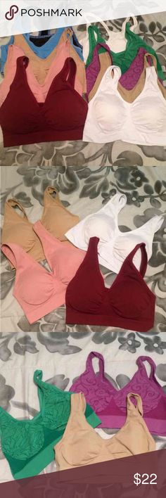 "Sports bra bundle size Medium Bundle of 10 sports bras. Great for exercise, lounging, or everyday use. Will fit about a size S/M. Most are Rhonda Sheer Ahh Bras that run small. In the 2nd pic all come with removable padding. The rest are seamless. Sizes are M-XL but do run small!!! Measuring band it's 11""-12"" but do stretch. The white & purple bras have some fuzzies. But a great deal for sports bras. Please ask any questions to make sure they'll fit before buying if unsure. Cheaper on Merc…"