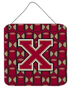 Letter X Football Garnet and Gold Wall or Door Hanging Prints CJ1078-XDS66