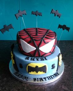 Batman and spiderman superhero tiered cake