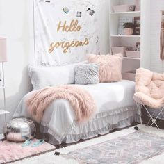 Transform your dorm room into something glam-azing! ✨ What excites you most about decorating your dorm room or any space? Shop everything you need for your college days ahead via the link in our bio. Cool Teen Bedrooms, Bedroom Decor For Teen Girls, Bedroom Ideas, Girl Bedrooms, Cute Rooms For Girls, Dorm Room Ideas For Girls, Hipster Bedrooms, Dorm Room Colors, Cute Dorm Rooms
