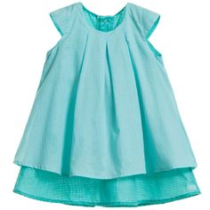 KENZO Baby Girls Green Dress & Knickers Set Baby girls pretty aqua-green cotton dress by Kenzo with a darker lining that peaks below the hem to give a lovely contrast. It has elegant, cap sleeves, and fastens the length of the back with poppers for easy dressing. With the dress is a cute pair of matching knickers that can be worn as an outfit to conceal a nappy or worn as shorts with a little top.