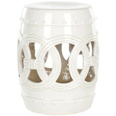 Accent your garden, patio, or any indoor room with this paradise double coin white ceramic garden stool.
