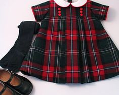 Items similar to Red Tartan Pinafore and White Blouse for a little girl on Etsy Toddler Dress, Baby Dress, Toddler Fashion, Kids Fashion, Little Girl Dresses, Girls Dresses, Boiled Wool Jacket, Dress Anak, Tartan Dress