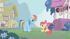 Rainbow Dash talking to Apple Bloom