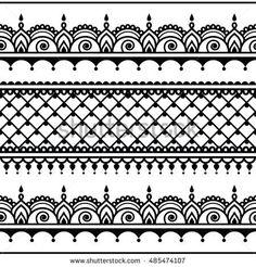 Indian seamless pattern, design elements - Mehndi tattoo style