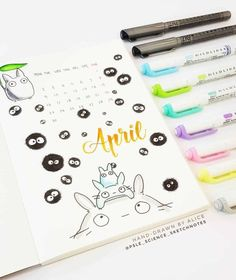 Looking for 40 absolutely adorable Studio Ghibli themed bullet journal ideas? well look no further for some amazing bujo spread inspiration! Bullet Journal Disney, Bullet Journal Month, Bullet Journal School, Bullet Journal Writing, Bullet Journal Inspo, Bullet Journal Spread, Bullet Journal Layout, Bullet Journal Japan, Bullet Journals