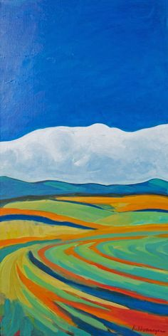 Rolling Clouds, 2012, Acrylic on Canvas, 18 x 36″, by collaborating twin artists, Lisa and Lori Lubbesmeyer