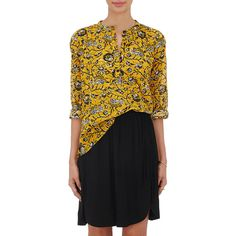 Isabel Marant Étoile Women's Amaria Voile Blouse ($170) ❤ liked on Polyvore featuring tops, blouses, yellow, floral print tops, floral tops, pleated blouse, pleated top and floral long sleeve blouse