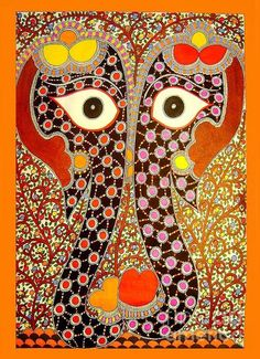 Elephant Pair-madhubani Paintings Print By Neeraj Kumar Jha