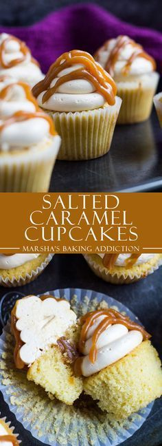 Salted Caramel Cupcakes | marshasbakingaddiction.com @marshasbakeblog. Moist yellow cupcakes with a yummy salted carmel swiss meringue buttercream frosting and salted Carmel in the middle of the cupcake.