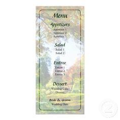 Autumn Vista Wedding Menu by Susan Savad -- Autumn wedding menu that you can customize yourself. #wedding #weddingmenu #weddingmenus #customize #gettingmarried #autumn #fall   $0.55  per card   BULK PRICING AVAILABLE!