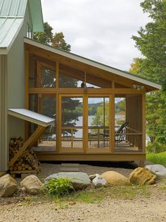 screen porches, cabin, lake houses, idea, screens, deck, outdoor design, firewood storage, screened porches