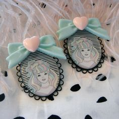 Pastel Barbie Cameo Earrings. $12.00, via Etsy.