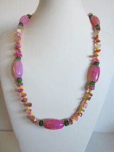 Pink Agate Necklace with green agate rondelles and by yasmi65, $30.00
