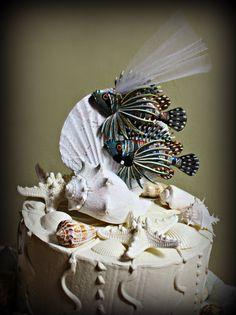 Loving Lion Fish Salt Water Fish Wedding Cake Topper-Beach Themed Wedding Cake Topper-Fish Themed Cake Topper. 29.00, via Etsy.