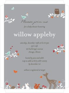Woodland Wonder - Baby Shower Invitations - Petite Alma - Smoke - Gray : Front