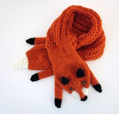Hand knit fox scarf in red orange with polymer clay by AmeBa77, $68.00