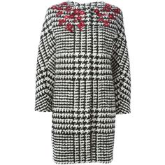 Ermanno Scervino houndstooth coat ($2,180) ❤ liked on Polyvore featuring outerwear, coats, black, black coat, ermanno scervino, hounds tooth coat y houndstooth coat