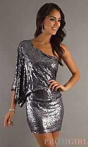 Buy One Sleeve Sequined Short Dress at PromGirl