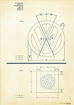 Recreated-Vintage VW Logo Specification Poster