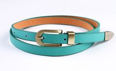Fashion Sexy Leopard Grain PU leather Thin Belt Skinny Waistband yd23-green