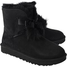 UGG Gita Black // Lambskin boots ($250) ❤ liked on Polyvore featuring shoes, boots, black pom pom boots, ugg shoes, ugg boots, black bow shoes and bow shoes