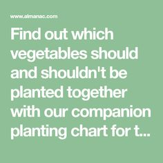 Find out which vegetables should and shouldn't be planted together with our companion planting chart for ten of the most popular vegetables.