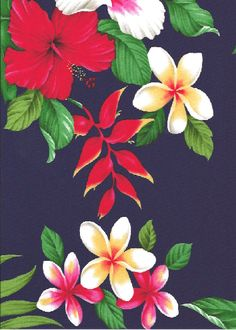 20'olo'olo Hibiscus, heliconia, plumeria, monstera fern and palm fronds on cotton apparel fabric.  BarkclothHawaii.com