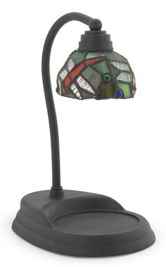 Candle Warmer Lamp in black with optional leaded dragonfly shade. Halogen bulb included. Large selection at Seasons by Design specialty shop, 2605 Ford Drive, New Holstein, WI 53061.       920-898-9081 Seasonsbydesigngifts@yahoo.com  Follow us on Facebook