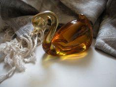 Vintage Pilgrim Glass Golden Swan Handmade by AtticAntiquesVintage, $46.00