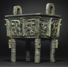 A RARE AND MAGNIFICENT ARCHAIC BRONZE WINE VESSEL, FANGDING<br>LATE SHANG/EARLY WESTERN ZHOU DYNASTY | Lot | Sotheby's Chinese Culture, Chinese Art, Stone Age Art, Zhou Dynasty, 3d Mode, Archaeological Discoveries, Chinese Ceramics, Ancient China, Ancient Artifacts