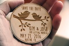 "Personalized laser engraved Save the Date magnets, personalised wooden save the date magnets, personalized wedding invitations! This is a set of 25, 50 or 75 wooden save the date magnets.  If you dont see what you need, simply send me a convo for a custom job. I do custom jobs all the time!   DIMENSIONS: 3. Contact me if you need a different size.  ★ HOW TO ORDER ★  1) Add the item(s) to your shopping cart. 2) Include your custom save the date wording in the ""Notes to Seller"" box. If you…"