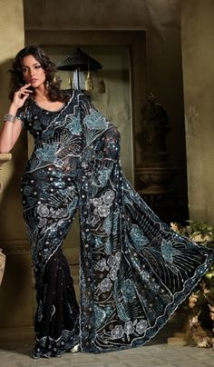 Faux Georgette Black Saree embellished With sequence, stone and beads along With matching blouse piece
