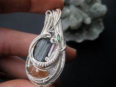 Wire Wrap Crystal Pendant Necklace // Tourmaline, Hessonite Garnet, Chrome Diopside