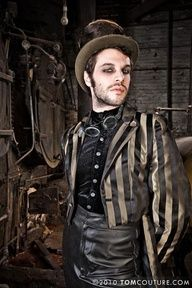 Steampunk men makeup - beard, dark eyes