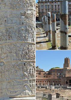 The Forum of the Emperor Trajan (Forum Trajani) - the famous Trajan's column on left, forum colonnade and Trajan's Market (Mercatus Trajani) on right.