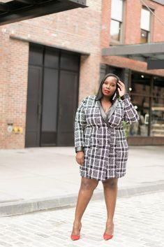 Bonnie Plaid Blazer Dress - Fashion To Figure Plaid Blazer, Blazer Dress, Curvy Fashion, Plus Size Fashion, Fashion To Figure, Night Outfits, Fashion Dresses, Work Clothes, Girly