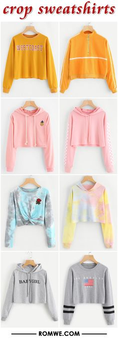 Shop online for the latest collection of PIN US MonthlyNew 20171218 S Find the best styles and deals at ROMWE right now! Teen Fashion Outfits, Outfits For Teens, Cool Outfits, Girl Fashion, Casual Outfits, Cute Sweatshirts, Cute Shirts, Hoodies, Cute Crop Tops