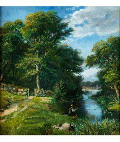 """ANGLER AN EINEM FLUSSLAUF Öl auf Papier, auf Leinwand aufgezogen. 23,5 x 22,5 cm. Trägt links unten ein Monogramm """"PM"""". Um 1890. Der Flusslauf durch hohe..."""