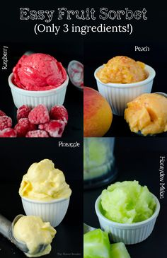 Easy Fruit Sorbet - fruit any time you want! You only need 3 ingredients (not counting water)! -tricks and tips to apply to your favourite fruits to make Sorbet! Raspberry Sorbet, Peach Sorbet, Honeydew Melon Sorbet, and Pineapple Sorbet! Frozen Desserts, Frozen Treats, Vegan Desserts, Just Desserts, Delicious Desserts, Dessert Recipes, Yummy Food, Recipes With Frozen Fruit, Healthy Strawberry Recipes